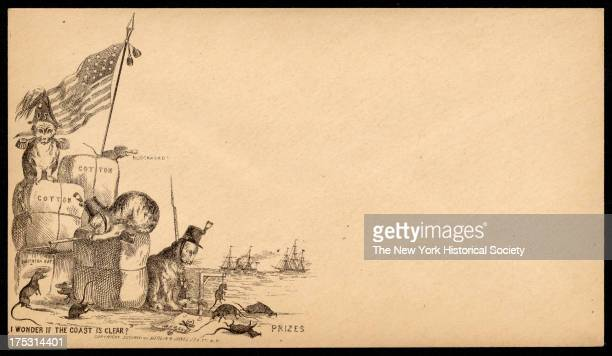 A trio of cats wearing military hats and epaulettes sit on bails of cotton in a blockaded harbor with the corpses of rats labeled 'prizes' at their...