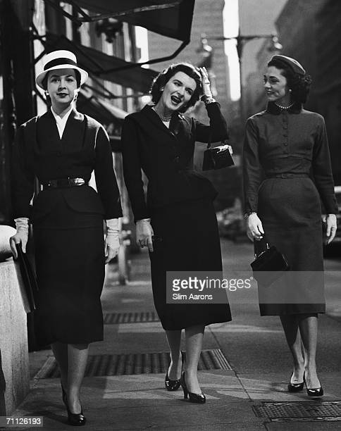 A trio of elegant ladies on Park Avenue New York 1953