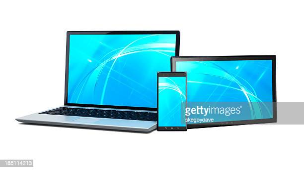 Trio of laptop, tablet and smartphone