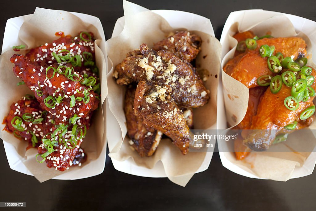 Trio of spicy bbq chicken wings