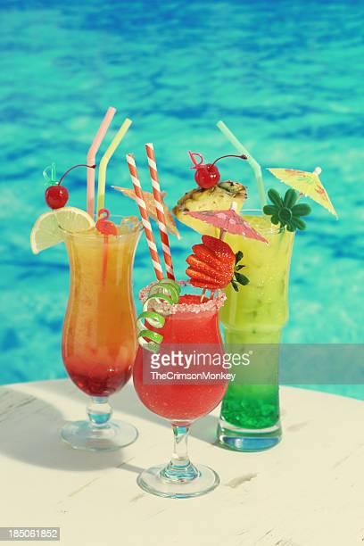 Trio de Cocktails tropicaux Vintage