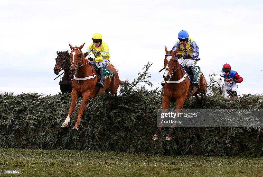 Triolo D'Alene (L) ridden by <a gi-track='captionPersonalityLinkClicked' href=/galleries/search?phrase=Barry+Geraghty&family=editorial&specificpeople=198943 ng-click='$event.stopPropagation()'>Barry Geraghty</a> next to Dunowen Point ridden by <a gi-track='captionPersonalityLinkClicked' href=/galleries/search?phrase=Jason+Maguire&family=editorial&specificpeople=167161 ng-click='$event.stopPropagation()'>Jason Maguire</a> on their way to winning the John Smith's Topham Chase during Ladies Day at Aintree Racecourse on April 5, 2013 in Liverpool, England.