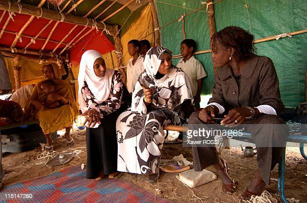 Trip of HE Rama Yade Secretary of State on foreign affairs and human rights in Khartoum Sudan on October 21 2007 Rama Yade stops in the village of...