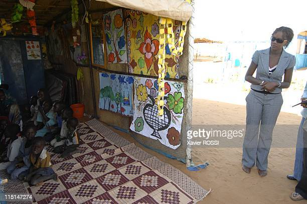 Trip of HE Rama Yade Secretary of State on foreign affairs and human rights in Khartoum Sudan on October 21 2007 In the refugee camp in Aboushok in...