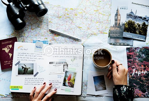 trip planning with map : Stock Photo