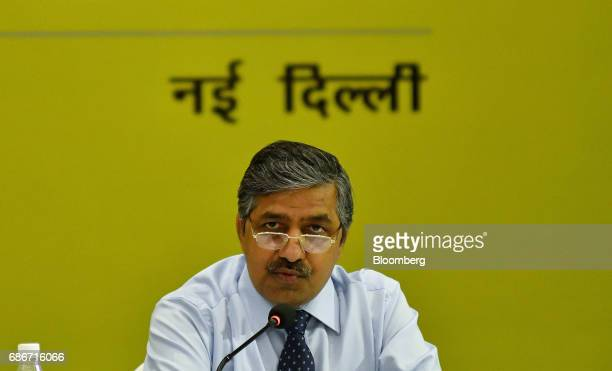 BC Tripathi chairman and managing director of GAIL India Ltd speaks during a news conference in New Delhi India on Monday May 22 2017 Shares of Gail...