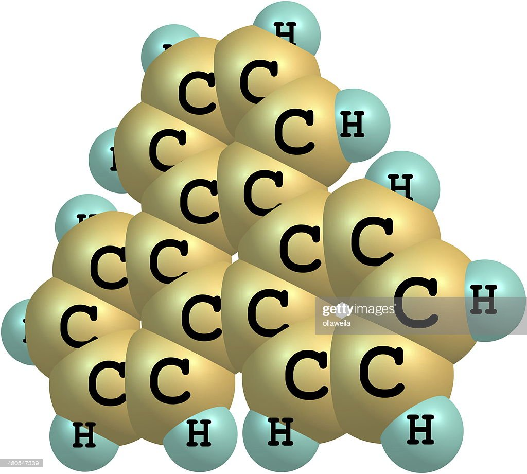 Triphenylene molecule structural model on white : Stock Photo