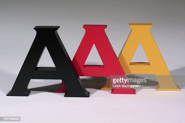 GERMANY Triple A in the colors black red gold Icon image to assess the creditworthiness by rating agencies