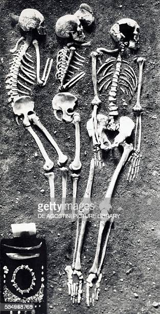 Triple burial with CroMagnon type skeletons reconstructed in 1955 from the Barma Grande in the Caves of the Balzi Rossi near Ventimiglia Liguria...