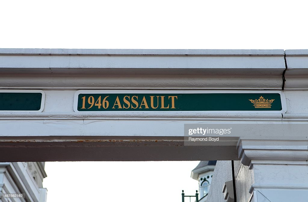 Triple Crown winner Assault is acknowledged at Churchill Downs home of the Kentucky Derby on October 05 2014 in Louisville Kentucky