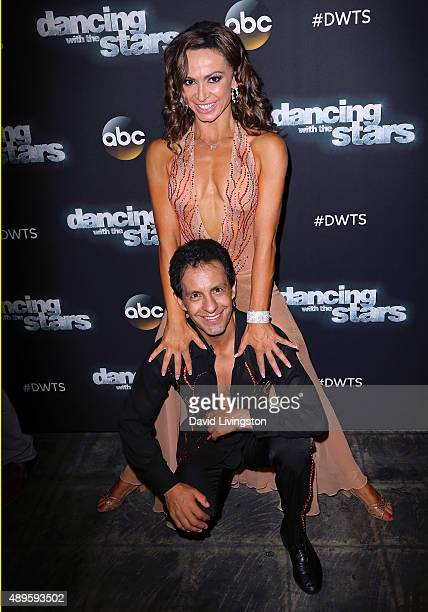 Triple Crownwinning jockey Victor Espinoza and dancer/TV personality Karina Smirnoff attend 'Dancing with the Stars' Season 21 at CBS Televison City...