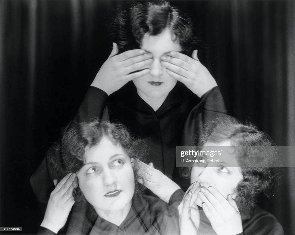 Triple exposure of girl in hear no evil, see no evil, speak no evil poses. : Stock Photo