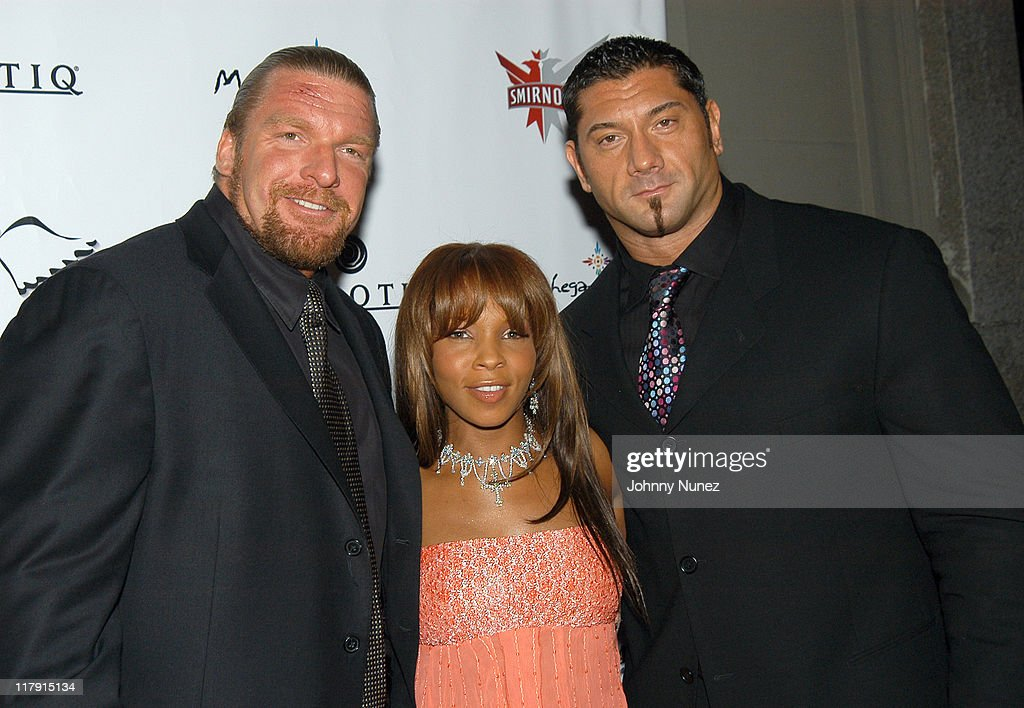 Triple H, Free and Batista during Free Presents Break!Celebrity Pool Tournament 2004 - Arrivals at Slate in New York City, New York, United States.