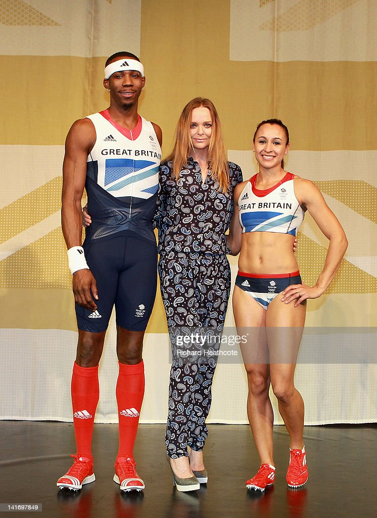 Triple jumper Phillips Idowu, creative designer Stella McCartney and Heptathlon athlete Jessica Ennis on stage at the official British team kit launch for the London 2012 Olympic and Paralympic Games, designed by Stella McCartney, created by adidas and was unveiled at the Tower of London on March 22, 2012 in London, England.