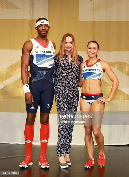 Triple jumper Phillips Idowu creative designer Stella McCartney and Heptathlon athlete Jessica Ennis on stage at the official British team kit launch...