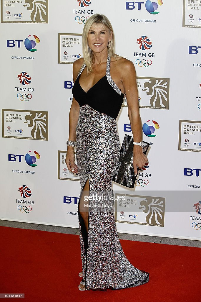 Triple Olympian swimmer Sharron Davies poses on the red carpet at the British Olympic Ball at Grosvener House hotel on September 24, 2010 in London, England. Over 60 Olympic medallists joined an audience of over 1100 to raise funds for Team GB ahead of the London 2012 Olympic Games.