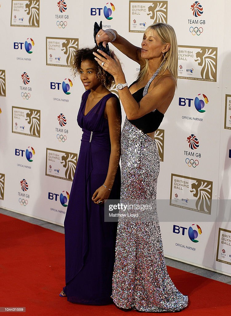 Triple Olympian swimmer Sharron Davies poses with her daughter on the red carpet at the British Olympic Ball at Grosvener House hotel on September 24, 2010 in London, England. Over 60 Olympic medallists joined an audience of over 1100 to raise funds for Team GB ahead of the London 2012 Olympic Games.