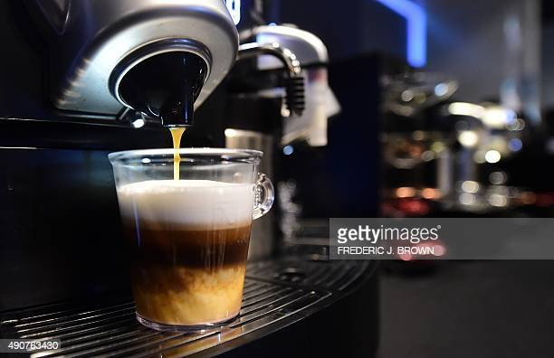 A triplelayered espresso from Nespresso's Gemini CS200 pro coffee machine is prepared at The Luxury Technology Show produced by RAND Luxury in...