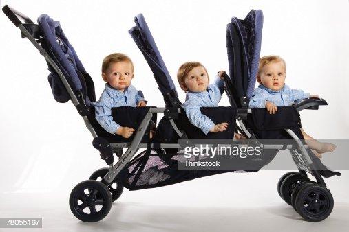 Triplets in stroller