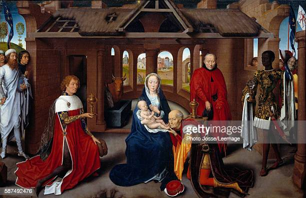 central panel The Magi are portraits of Charles the Bold and Philip the Good Tempera on wood by Hans Memling ca 1470 095 x 145 m Prado Museum Madrid...