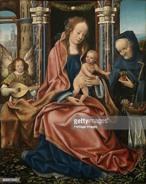 Triptych of the Holy Family with Music Making Angels Central panel ca 15101520 Found in the collection of Museo del Prado Madrid Artist Master of...