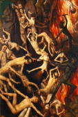 Triptych with the Last Judgement right wing detail Casting the Damned into hell Tiptich from Hans Memling InvSD/413/M Muzeum Narodowe Gdansk Poland...