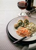 Tris di pasta (three types of pasta with different sauces)