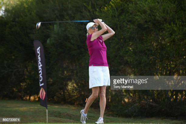 Trish Formoy of Kibworth Golf Club plays her first shot on the 1st tee during The WPGA Lombard Trophy Final Day One on September 21 2017 in Albufeira...