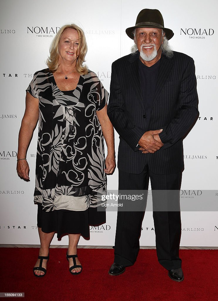 Trish Robinson and Tjyllyungoo pose at the book launch of 'Nomad Two Worlds' by Russell James on November 1, 2012 in Sydney, Australia.