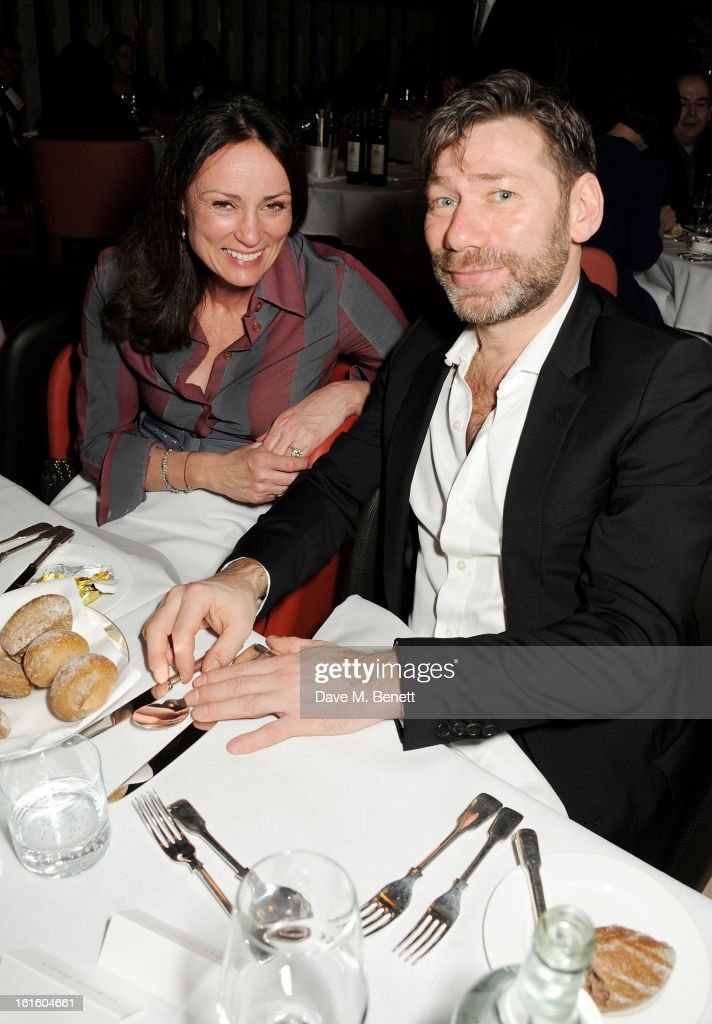 Trish Simonon (L) and Mat Collishaw attend a private dinner hosted by Lucy Yeomans celebrating Jason Brooks at Cafe Royal on February 12, 2013 in London, England.