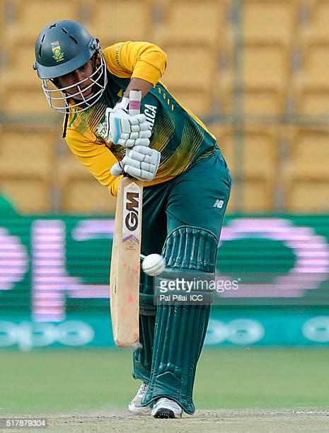 Trisha Chetty of South Africa bats during the Women's ICC World Twenty20 India 2016 match between South Africa and Sri Lanka at the Chinnaswamy...