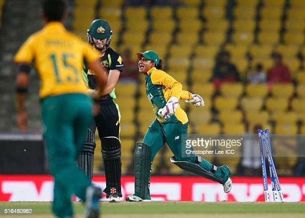 Trisha Chetty of South Africa celebrates stumping out Jess Jonassen of Australia during the Women's ICC World Twenty20 India 2016 Group A match...