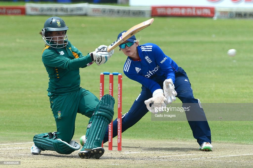 Trisha Chetty of South Africa during the One Day International match between South African Women and England Women at Willowmoore Park on February 07, 2016 in Benoni, South Africa.