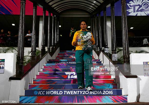 Trisha Chetty of South Africa during the Women's ICC World Twenty20 India 2016 Group A match between Australia and South Africa at the Vidarbha...