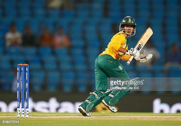 Trisha Chetty of South Africa in action during the Women's ICC World Twenty20 India 2016 Group A match between Australia and South Africa at the...