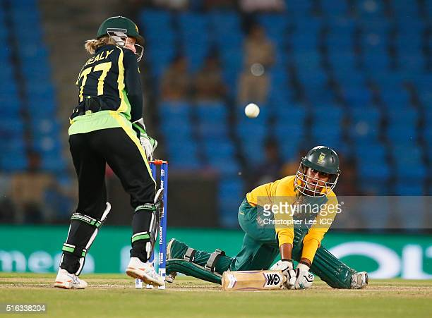 Trisha Chetty of South Africa in action with Alyssa Healy of Australia during the Women's ICC World Twenty20 India 2016 Group A match between...