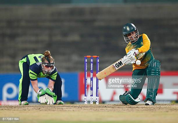 Trisha Chetty of South Africa in action with Mary Waldron of Ireland during the Women's ICC World Twenty20 India 2016 Group A match between South...