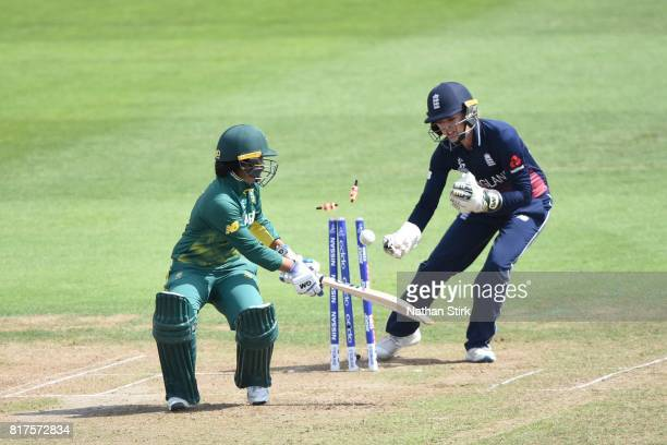 Trisha Chetty of South Africa is stumped by Sarah Taylor of England during the SemiFinal ICC Women's World Cup 2017 match between England and South...