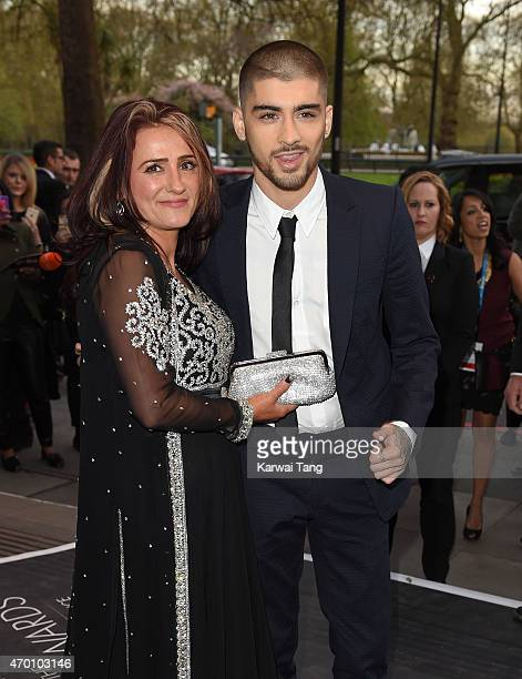 Trisha Malik and Zayn Malik attend The Asian Awards 2015 at The Grosvenor House Hotel on April 17 2015 in London England