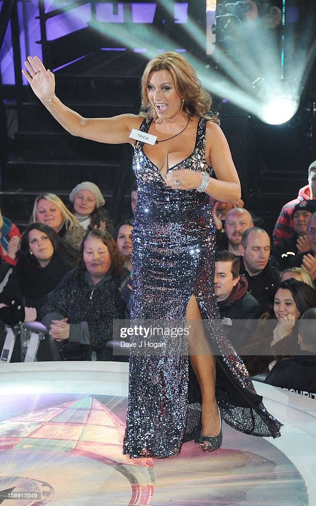 Trisha Penrose enters the Celebrity Big Brother House at Elstree Studios on January 3, 2013 in Borehamwood, England.
