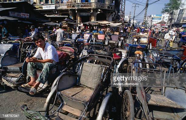 Trishaws waiting for passengers at Chilon Market