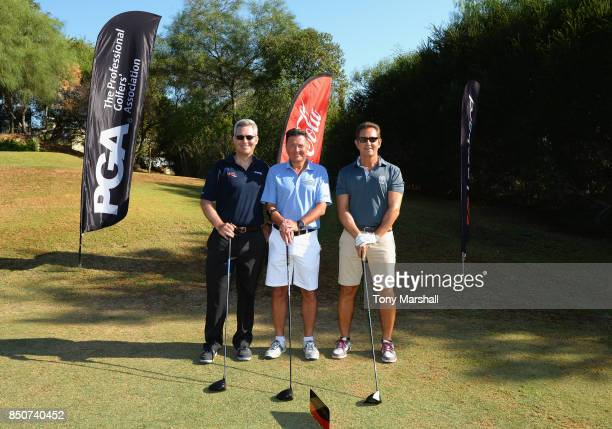 Tristan Crew of PGA Ian Issac of Lombard Javier Sierra of NatWest pose for a group shot shot on the 1st tee during The Lombard Trophy Final Day One...
