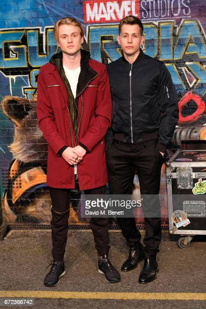 Tristan Evans and James McVey of The Vamps attend the European Gala screening of 'Guardians of the Galaxy Vol 2' at the Eventim Apollo on April 24...