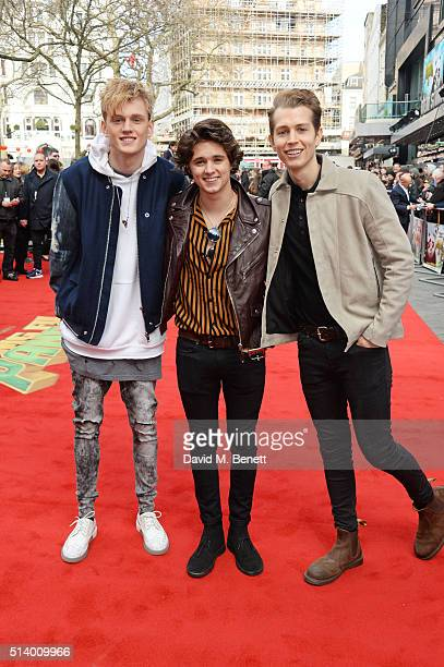 Tristan Evans Bradley Simpson and James McVey of The Vamps attend the European Premiere of 'Kung Fu Panda 3' at Odeon Leicester Square on March 6...