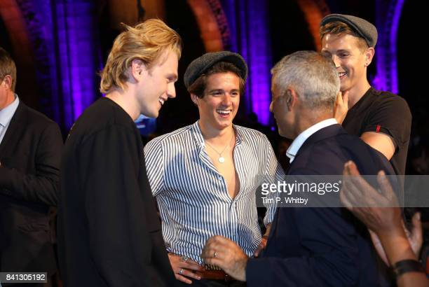 Tristan Evans Bradley Simpson and James McVey of The Vamps talk with Mayor of London Sadiq Khan during the London Autumn Season launch at the Natural...