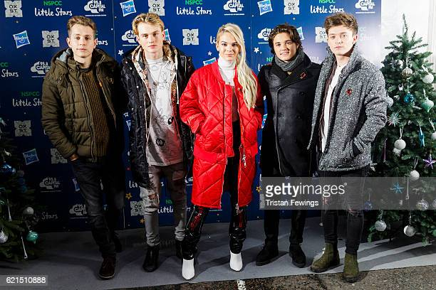 Tristan Evans James McVey Louisa Johnson Bradley Simpson and Connor Ball attend the Oxford Street Christmas Lights switch on at Oxford Street on...