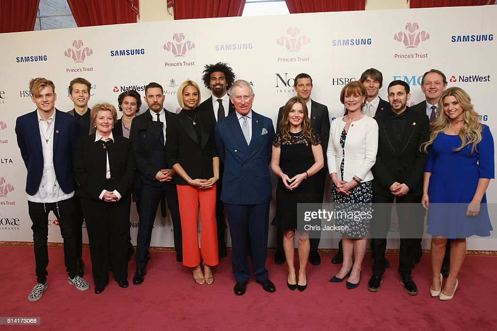 Tristan Evans of the Vamps, James McVey of the Vamps, Brenda Blethyn OBE, Bradley Simpson of the Vamps, Tom Hardy, Alesha Dixon, David Haye, HRH The Prince of Wales, Geri Horner, Bear Grylls, Samantha Bond, Professor Brian Cox OBE, Dynamo, Kevin Whately and Anna Williamson pose for a photo during The Prince's Trust Celebrate Success Awards at London Palladium on March 7, 2016 in London, England.