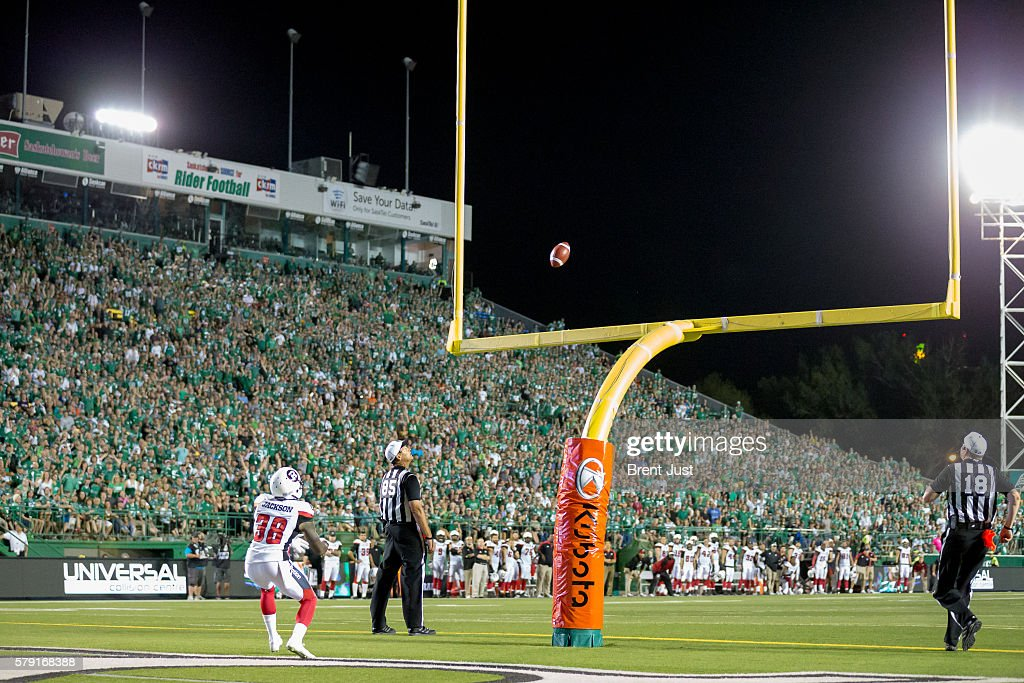Tristan Jackson #38 of the Ottawa Redblacks watches the game winning field goal go through the uprights as the Saskatchewan Roughriders defeat the Ottawa Redblacks 30 to 29 in the game between the Ottawa Redblacks and the Saskatchewan Roughriders at Mosaic Stadium on July 22, 2016 in Regina, Canada.