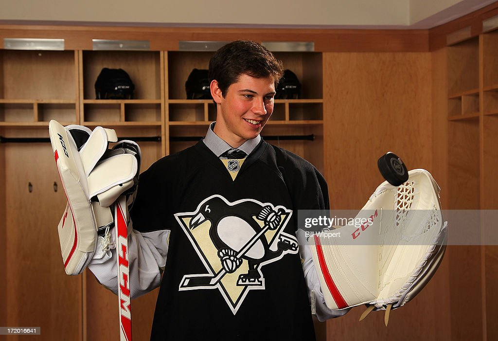 Tristan Jarry, 44th overall pick by the Pittsburgh Penguins, poses for a portrait during the 2013 NHL Draft at Prudential Center on June 30, 2013 in Newark, New Jersey.