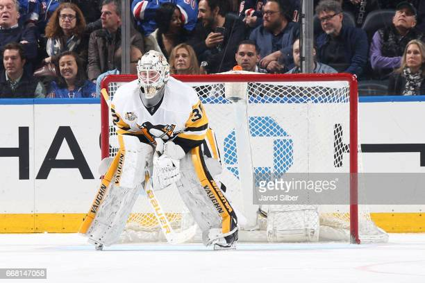 Tristan Jarry of the Pittsburgh Penguins tends the net against the New York Rangers at Madison Square Garden on April 9 2017 in New York City The New...